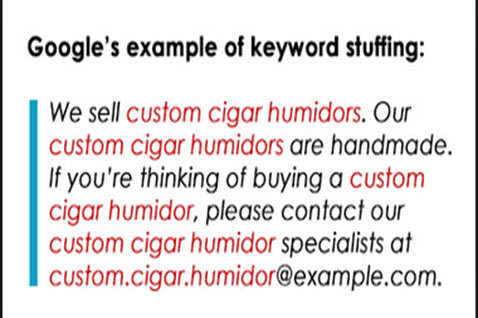 Google's example of keyword stuffing