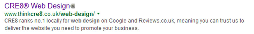 Title Tag for CRE8 showing in the Google search results