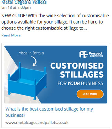 Title Tag showing for Metal Cages & Pallets Facebook feed