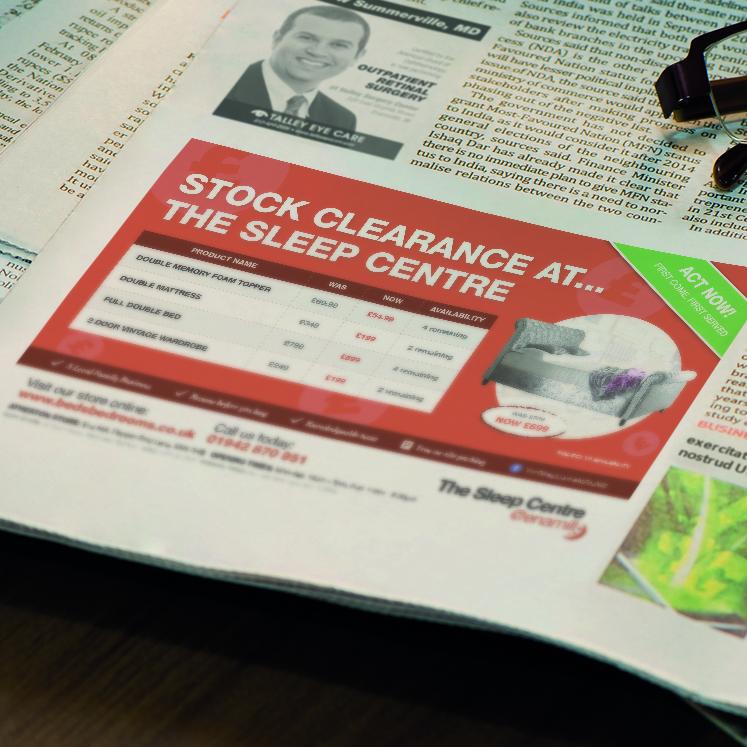The Sleep Centre newspaper advert