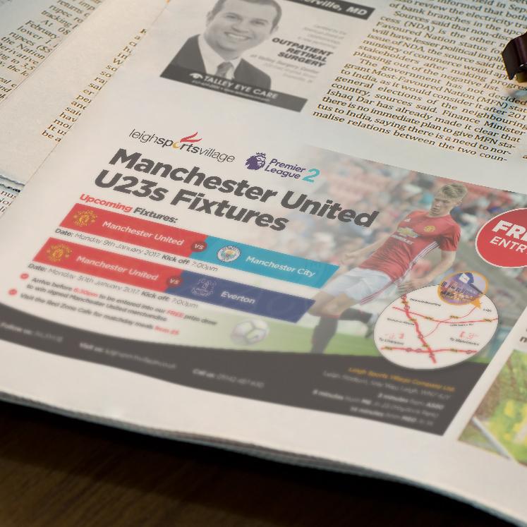 Leigh Sports Village Man United newspaper advert