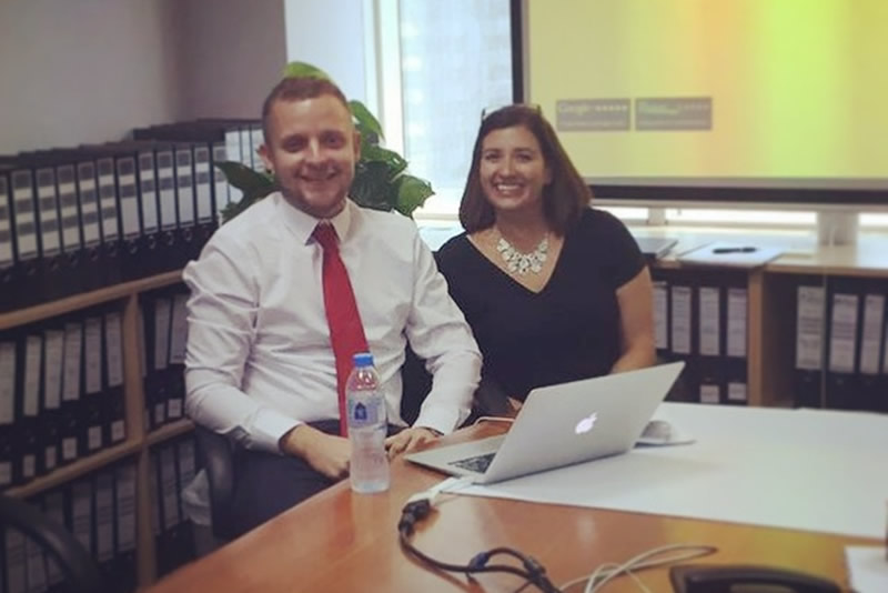 Image of Vicki and Jonathan in the Omnium offices