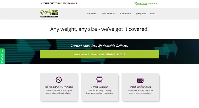 A screen shot of a web website we built for Speedy Courier Services.